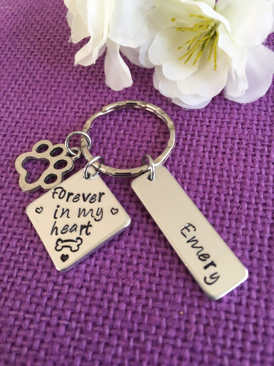 Dog memorial keychain personalized pet loss gift sympathy