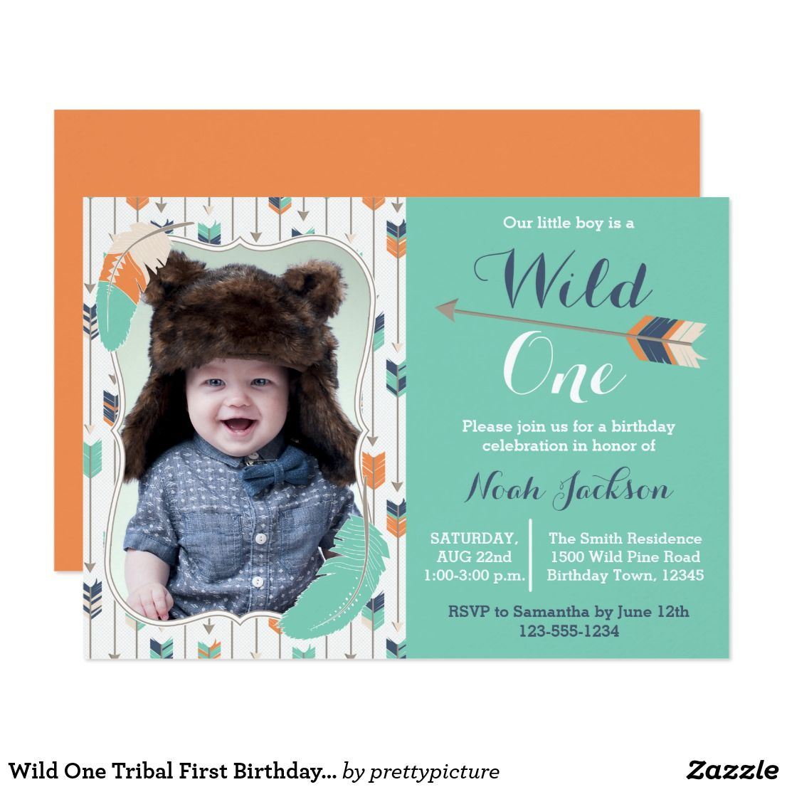 Wild One Tribal First Birthday Photo Invitation | Miles\'s 1st ...