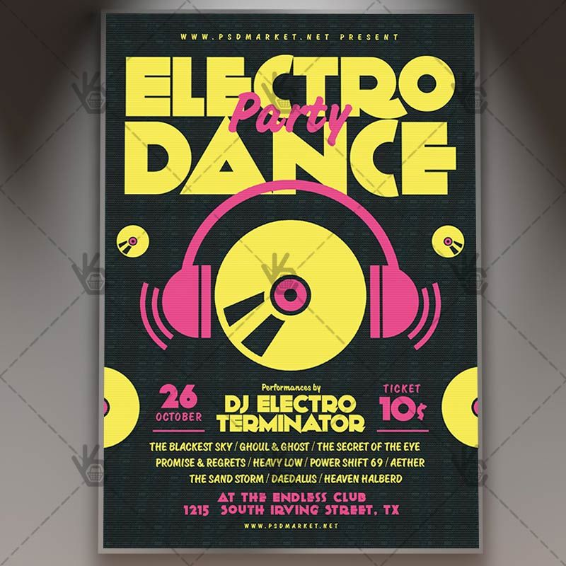 Electro Dance Party - Club Flyer PSD Template #dance #disco #dj - bowling flyer template free