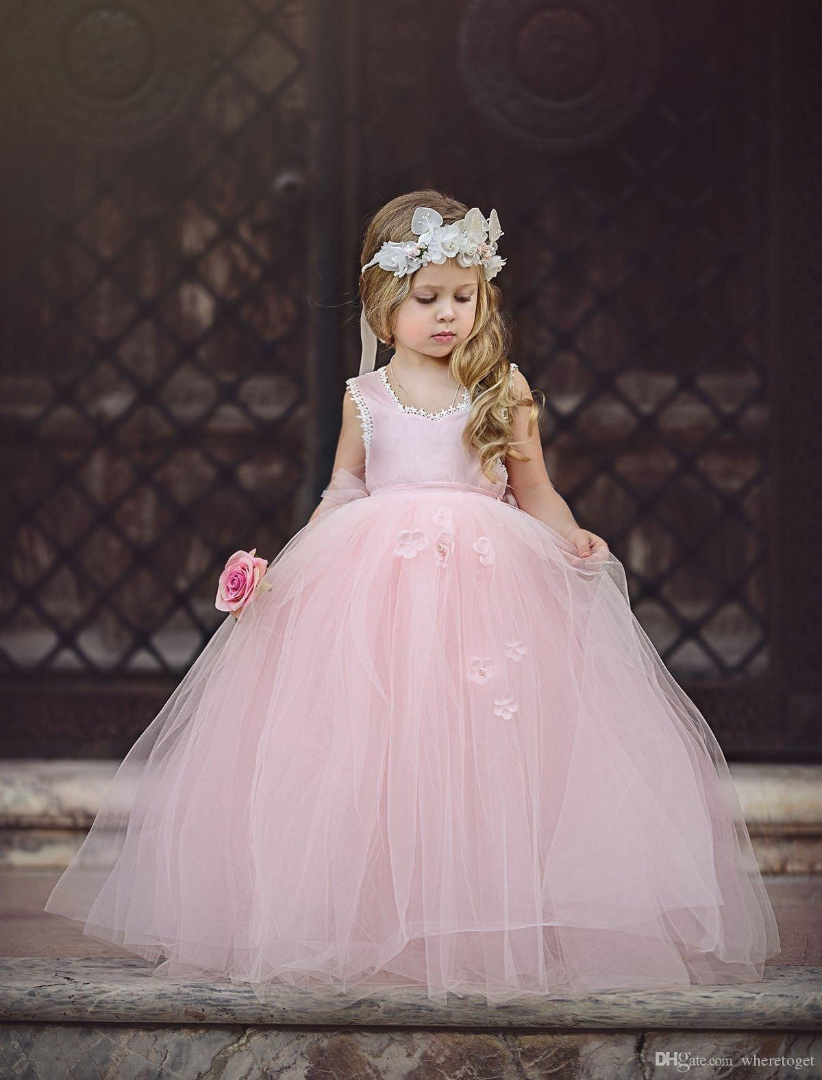 Cheap blush pink princess ball gown flower girls dresses for