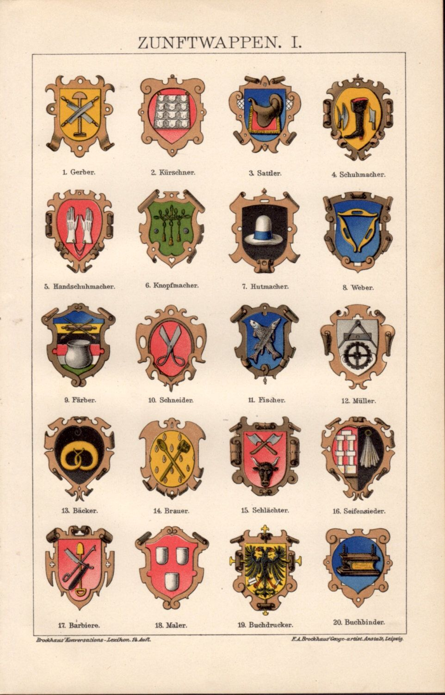 Medieval Guild Signs 1898 Merchant Guild Si...