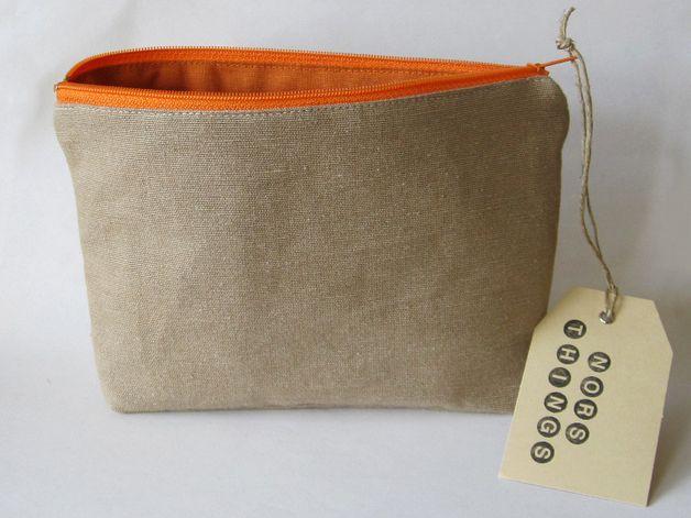 Universaltäschchen - Leinen Kosmetiktasche mit orangenem Futter - ein Designerstück von Norsthings bei DaWanda