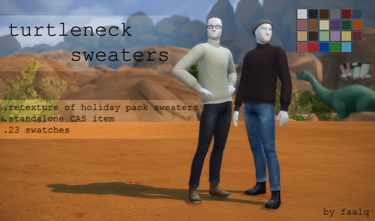 maxis match cc for the sims 4 faalq turtleneck sweaters