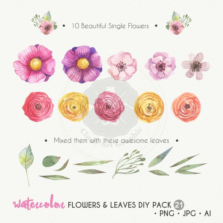 Watercolor Flowers Clipart Diy Pack Pink Flowers Purple Flowers