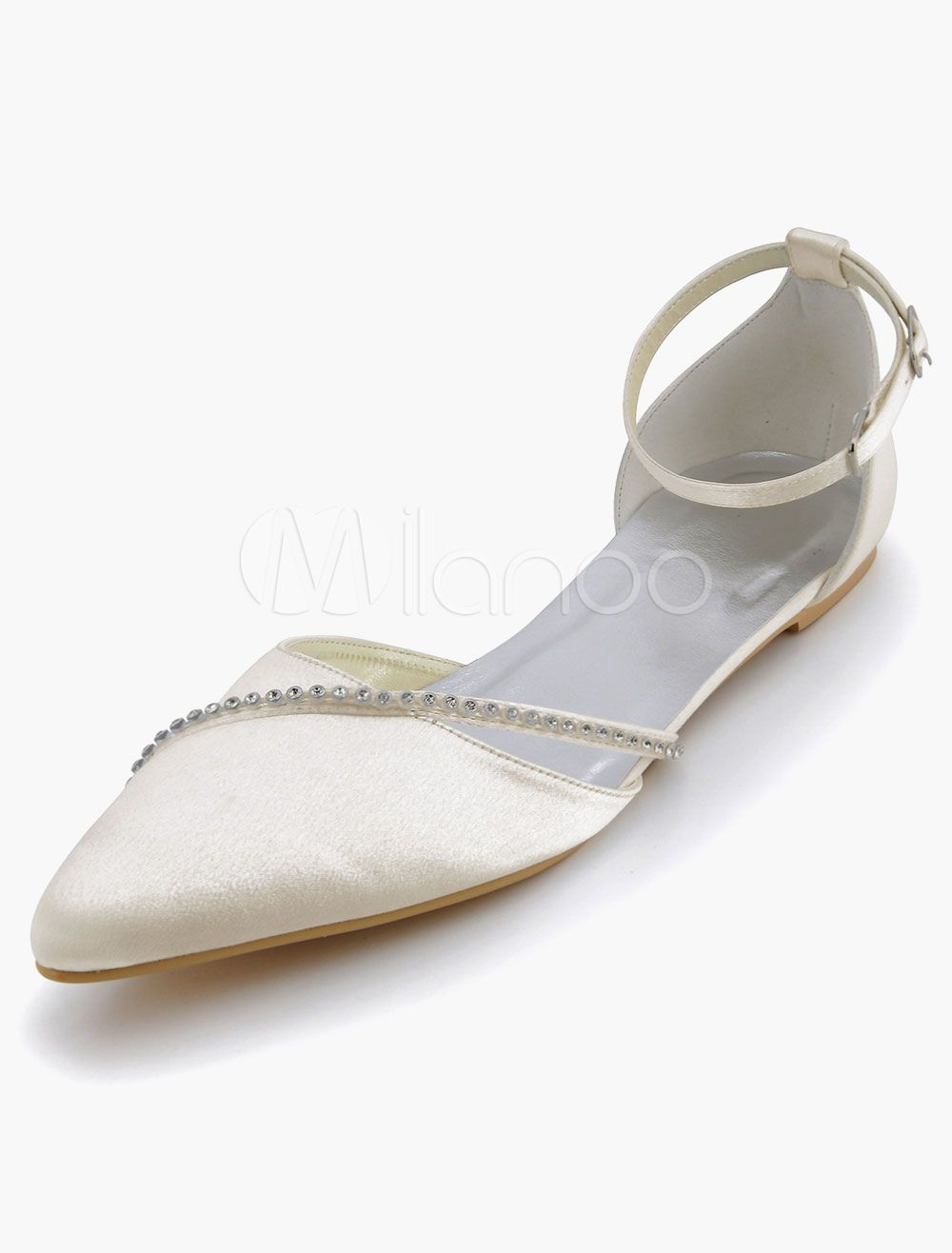 Satin Hochzeit Schuhe 2018 Spitz Strass Hochzeit Gast Schuhe Flache