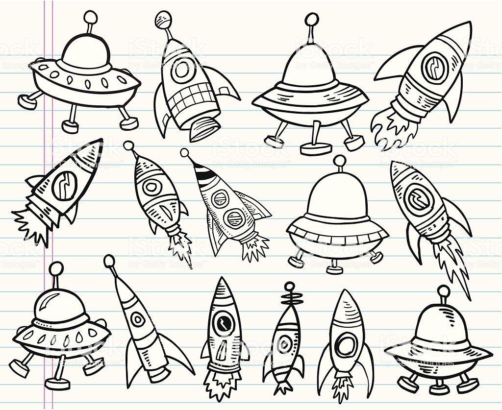 Cute Doodle Outer Space Vector Set