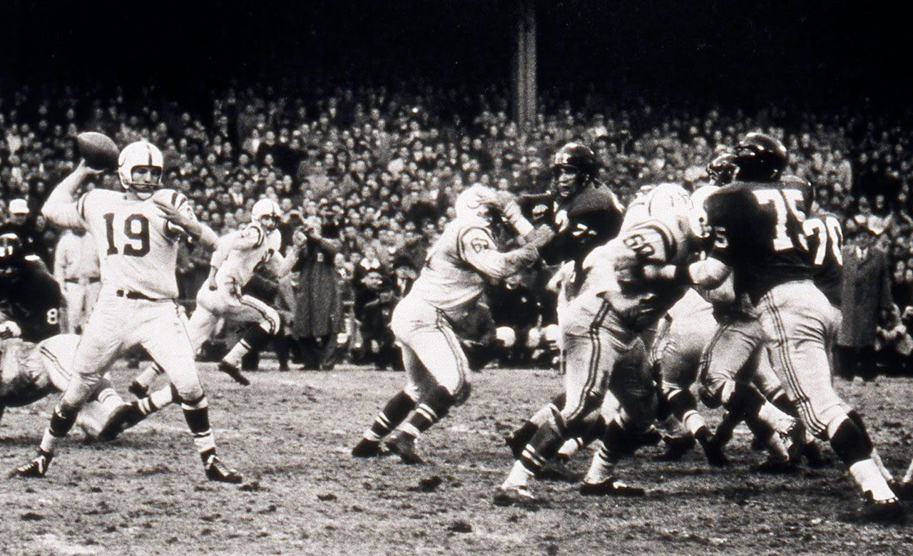 The Greatest Game Ever Played 1958 Nfl Championship Colts Vs Giants Youtube Nfl Championships Baltimore Colts Nfl Playoffs