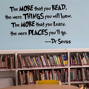 The more you read childrens bedroom wall art sticker for Library painting ideas