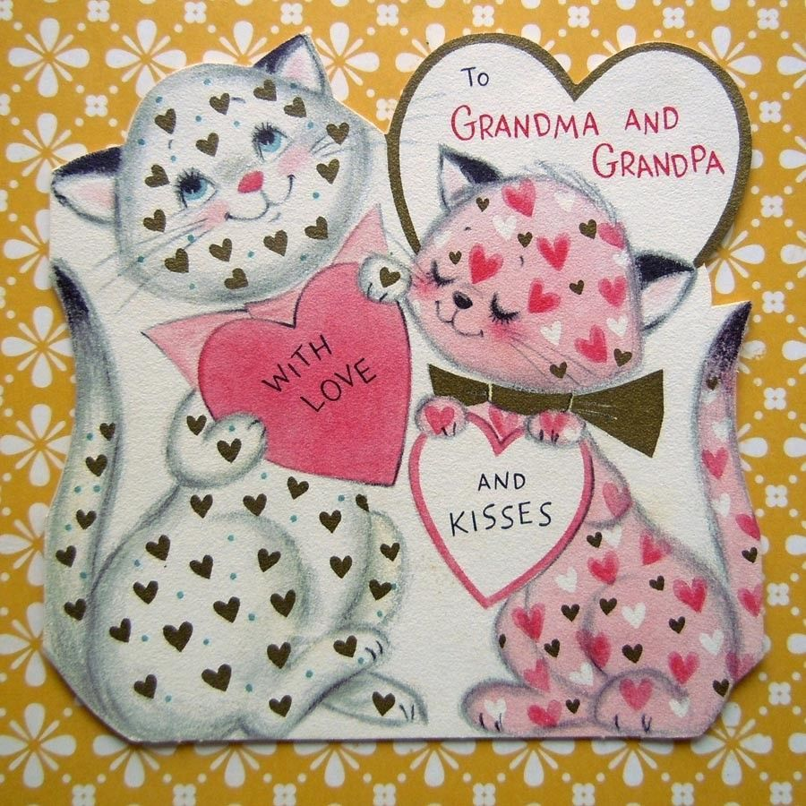 Vintage pink calico kittens cats with hearts valentineus day