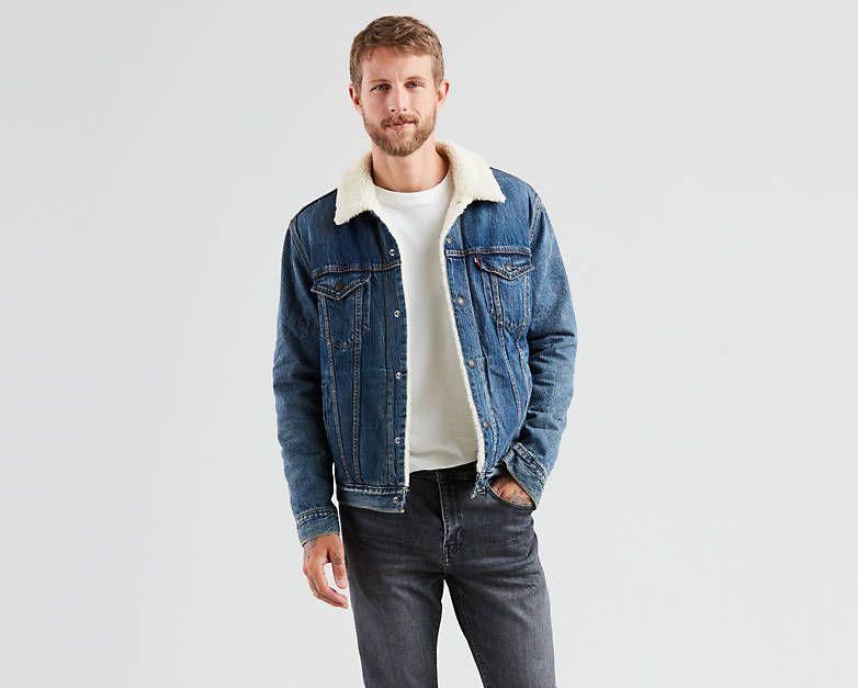 Sherpa Trucker Jacket Medium Wash Levi S Us Shop Mens Jeans Preppy Mens Fashion Mens Pants Fashion