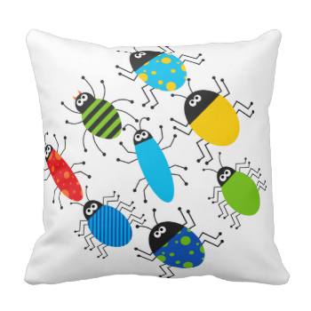 Something Buggy Going On pillow, cute and colorful, fun for kids who love bugs! Features bugs of various colors and designs on both front and back. #kids #childrens #nature #boys #cute #insects #beetles #bugs #cute #bugs #funny #mojo #pillow