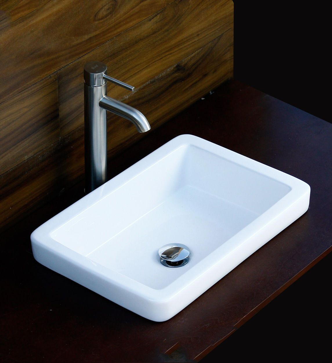 Bathroom Sr 7444 L03 Semi Recessed Ceramic Vessel Sink With Nickel