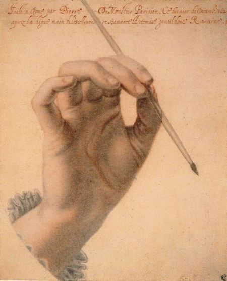 "Pierre Dumonstier, ""Right Hand of Artemisia Gentileschi Holding a Brush.""  Black and red chalk, 1625, British Museum  photo courtesy: The Metropolitan Museum of Art"