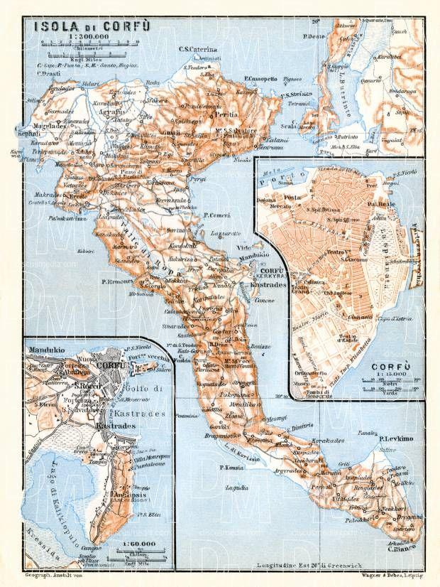 Corfu Town Plan 1929 Corfu Corfu Greece Greece