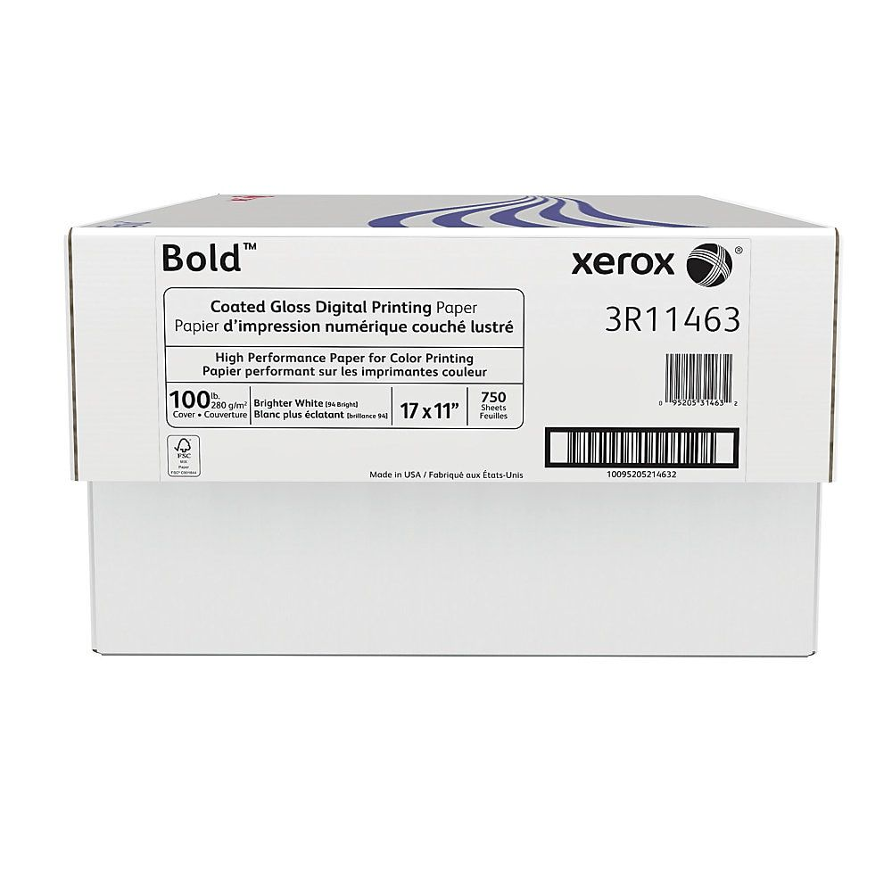 Xerox Bold Digital Coated Gloss Printing Paper Ledger Size 11 X 17 94 U S Brightness 100 Lb Cover 280 Gsm Fsc Certified 250 Sheets Per Ream Ca Printed Paper Prints Digital