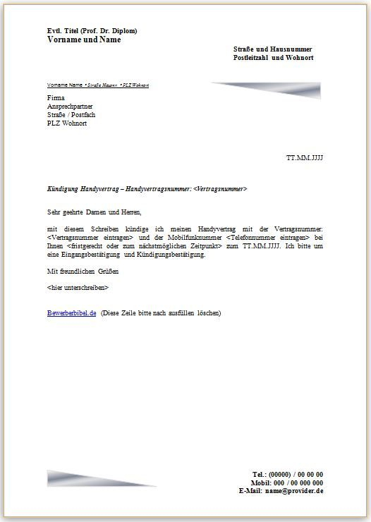 handyvertrag kndigen kndigungsschreiben vorlage und muster mobilfunkvertrag - Kabel Deutschland Kundigung Muster