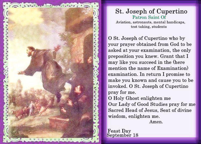 September 18 – Happy Feast of St Joseph of Cupertino #pinterest ...