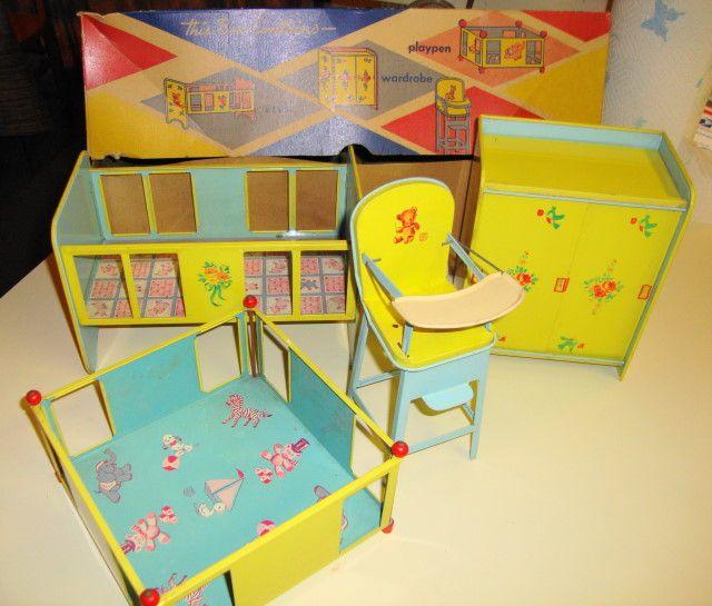 Vintage tin furniture by J. Chein of Burlington, NJ. Crib, playpen ...