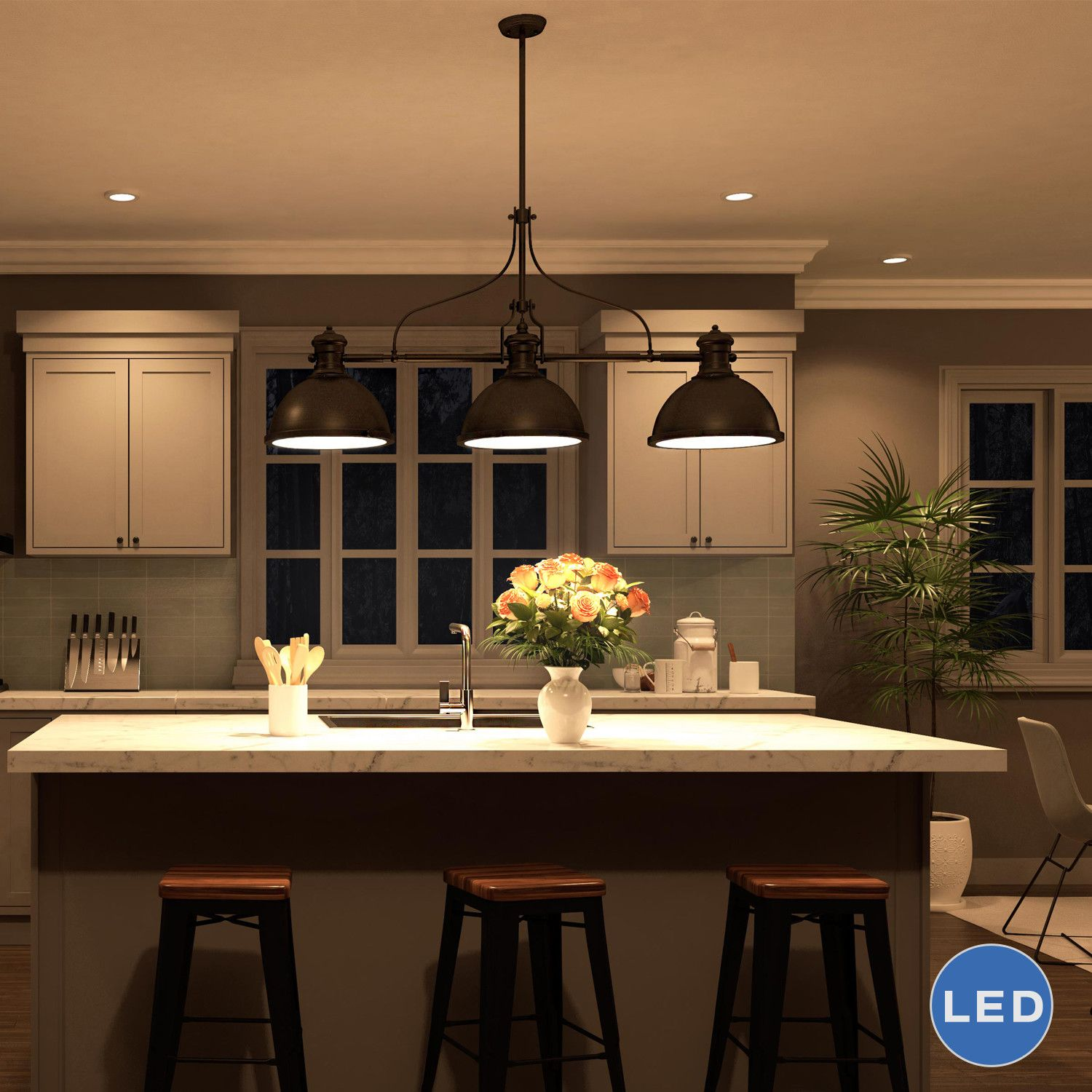 Industrial Lighting Kitchen Dorado 3 Light Kitchen Island Pendant Island Pendants Can