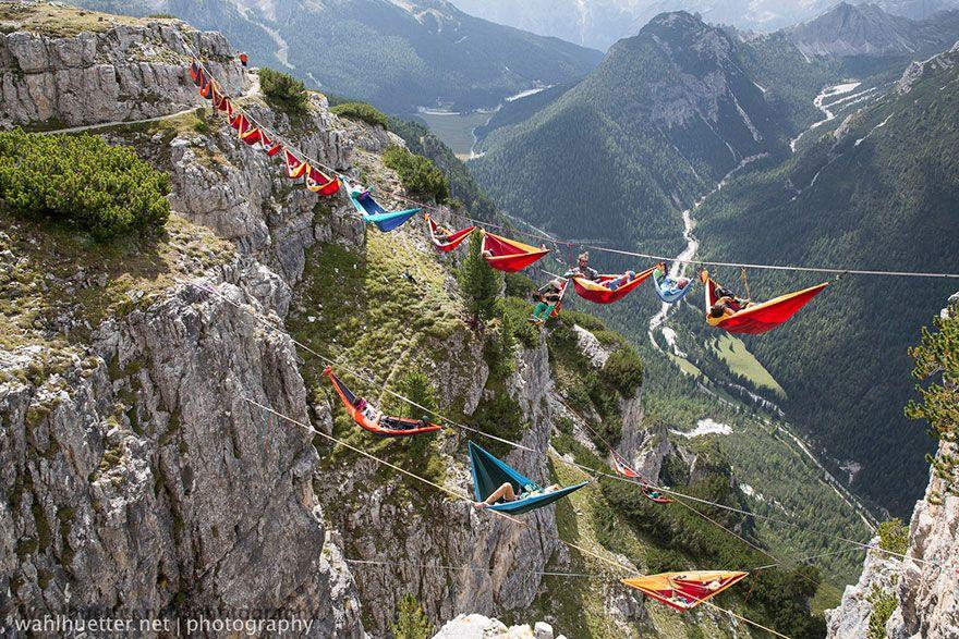 Festival Goers Sleep in Hammocks Hundreds of Feet above