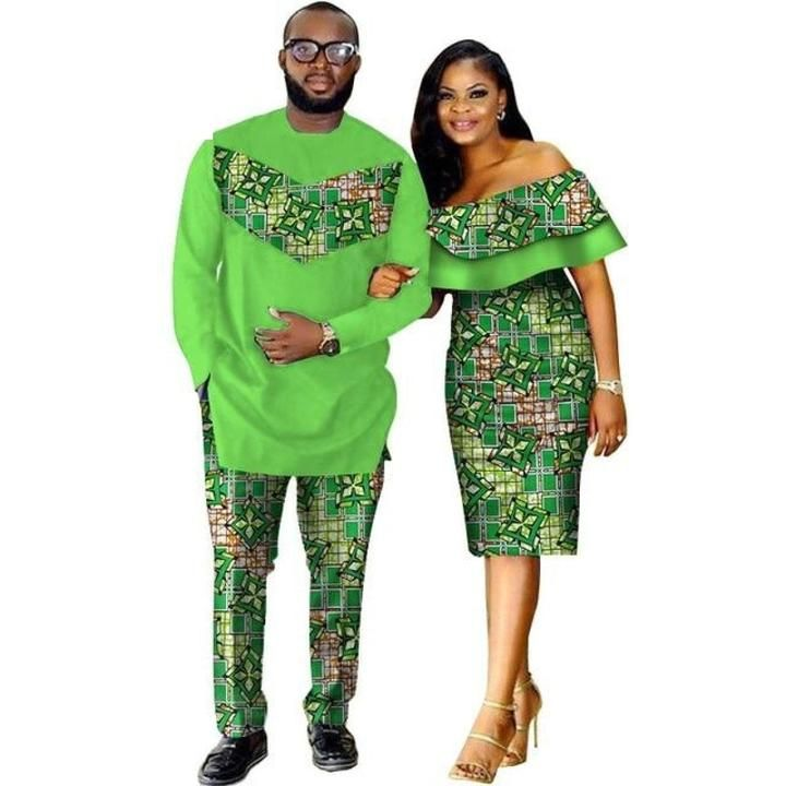 African Style Clothing Family Couple Man Shirt-Pnts Woman Dress Dashiki V11673