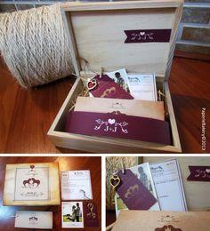 Tarjeta De Invitación Boda Vintage En Caja De Madera Con