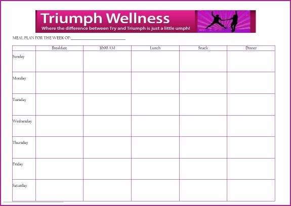 Free Meal Planning Template  Triumph Wellness  Fuhrman Style