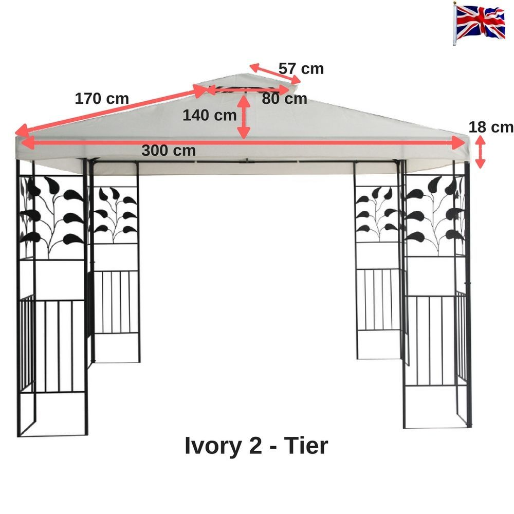 Gazebo Replacement Ivory Canopy Roof Top Patio Fabric Cover 2 Tier