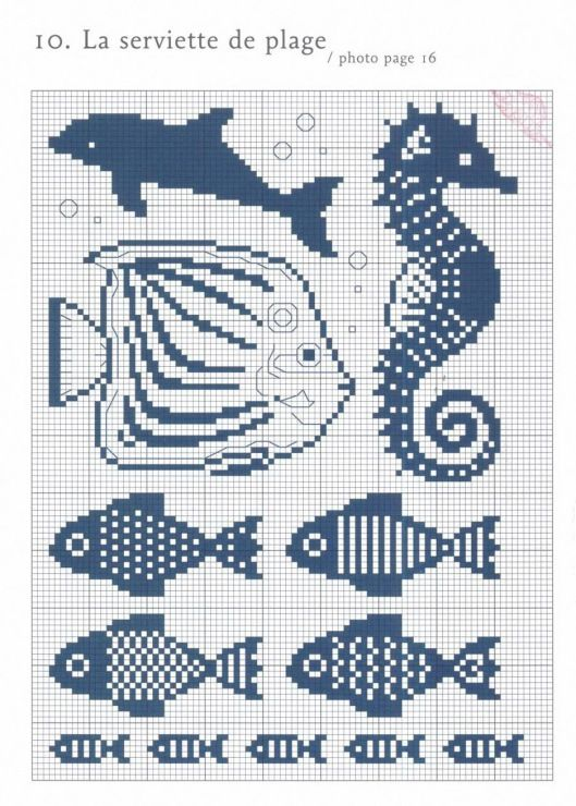 Poissons grille point compt mer pinterest poissons croix et points - Grille point de croix mer ...