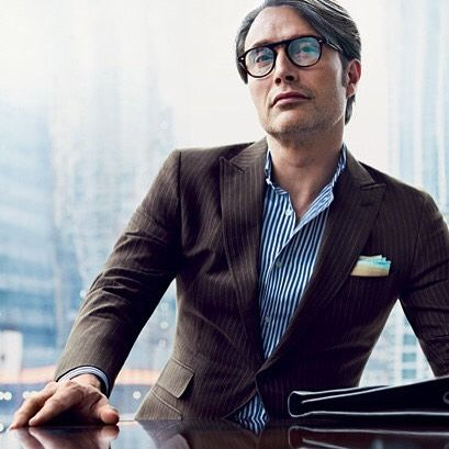 Mads Mikkelsen in brown pinstripes... Now that's #gqstyle. [ @nathanielgoldberg]#LTmoda
