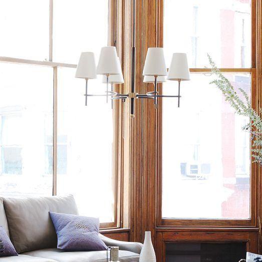 Lighting - Arc Mid-Century Chandelier - 6-Light | West Elm - bronze and brass chandelier, mid century chandelier, bronze chandelier with white shades,