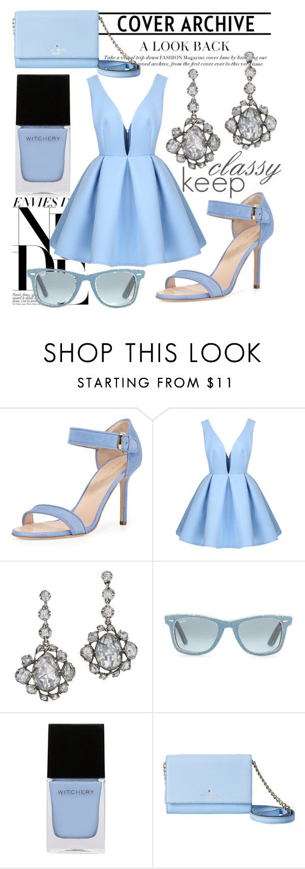 """Like Cinderella"" by sa-mori ❤ liked on Polyvore featuring Sergio Rossi, Ray-Ban, Witchery and Kate Spade"