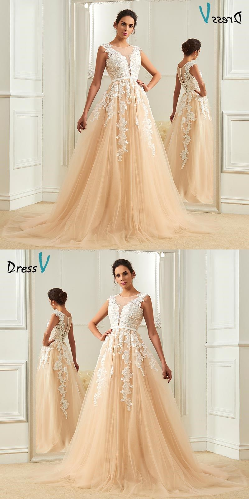 Champagne wedding dressscoop neck a line appliques court train