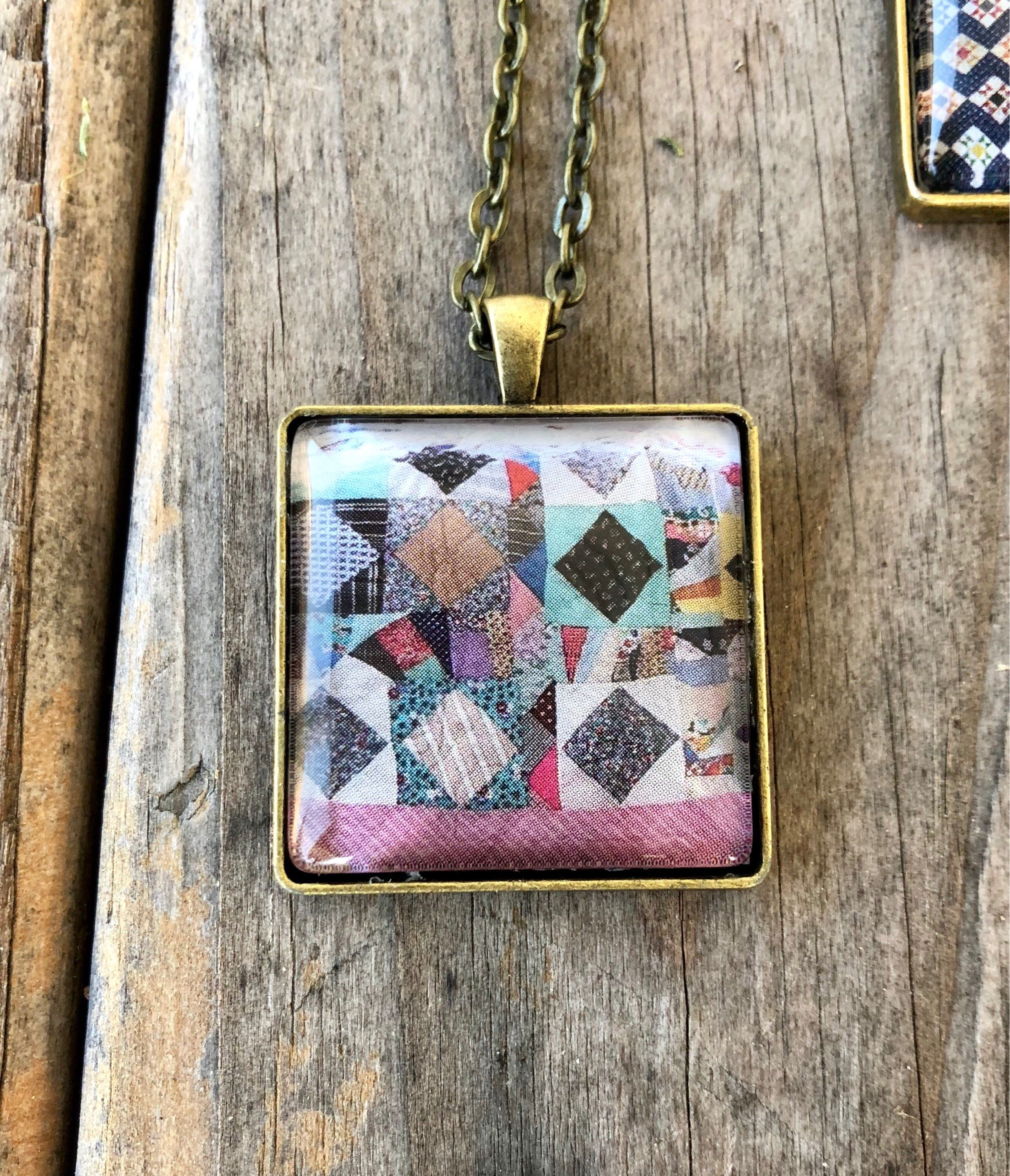 Crazy quilt block necklace gift for sewers quilters sewing