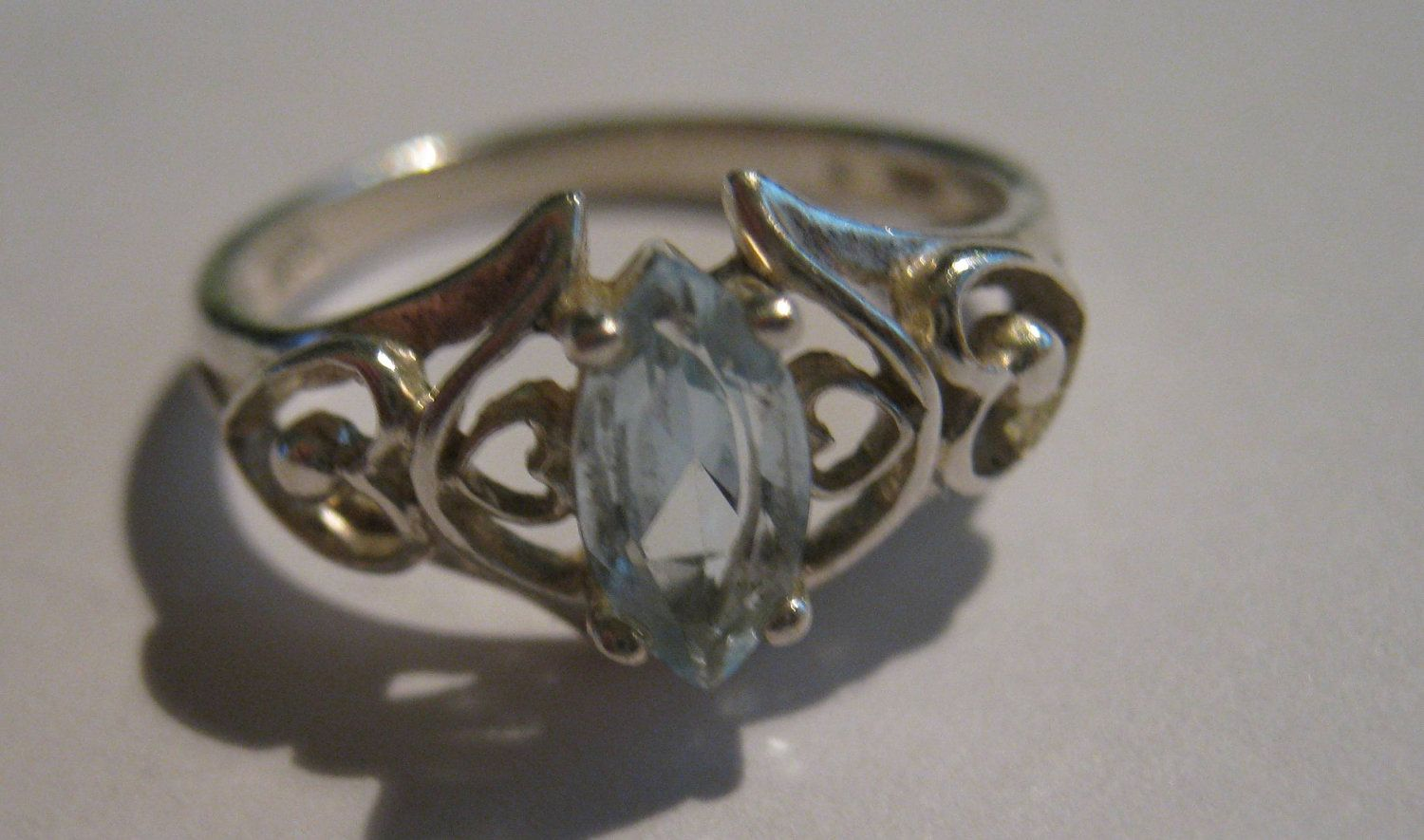 Vintage Avon Sterling Silver Ring With Aquamarine Gem