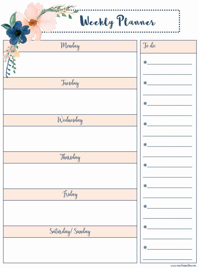40 Weekly School Planner Template In 2020 School Planner