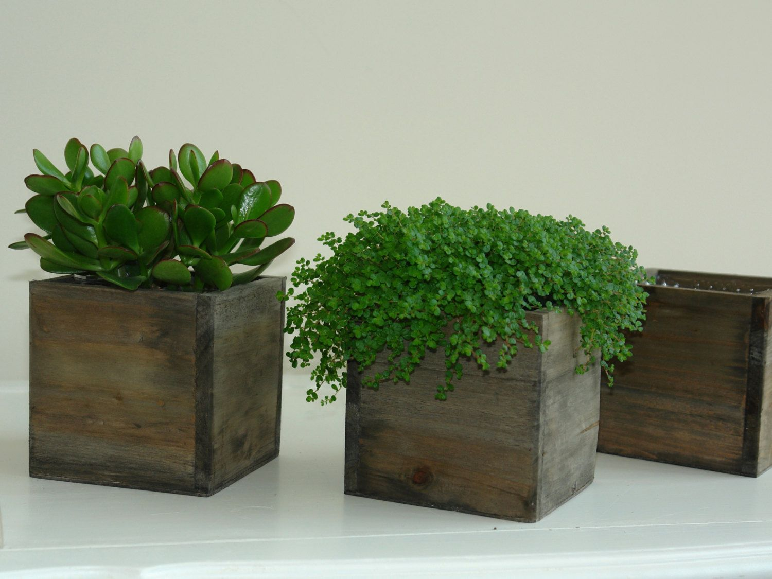 Woodland Planter Flower Box Rustic Pot Square Vases For Wedding Wooden Bo Chic By Aniamelisa On Etsy