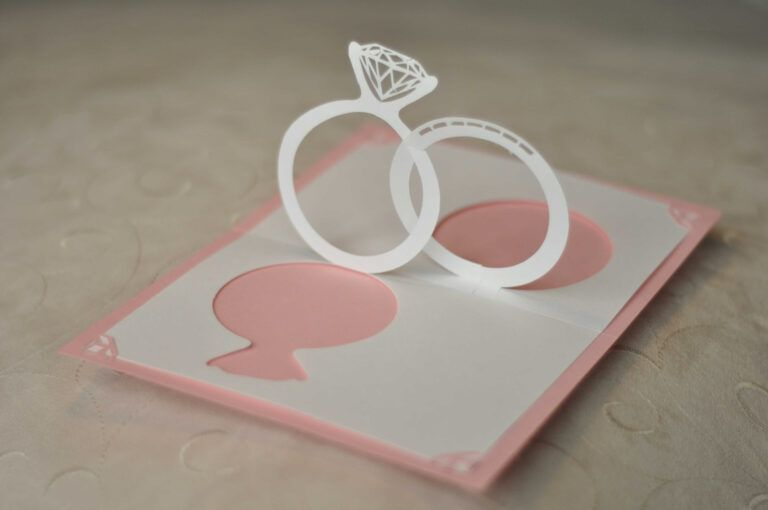 Wedding Invitation Pop Up Card Linked Rings Creative Pop Within Pop Up Wedding Card Template Pop Up Card Templates Wedding Card Templates Pop Up Invitation