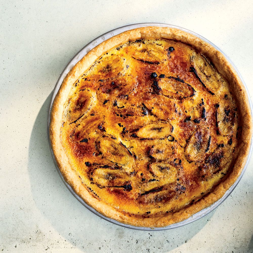Yelapa-Style Banana Pie (Pay de Plátano de Yelapa) | Caramelized banana, vanilla custard, and a salty shortbread crust make this best-ever pie typical of Yelapa, Mexico, the perfect snack. Get the recipe from Food & Wine.