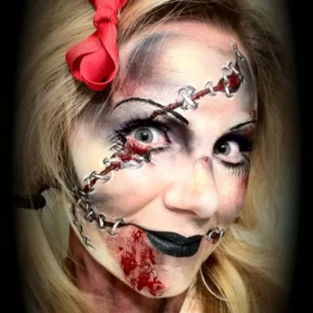 Halloween zombie stitches face paint | Face- and body painting ...