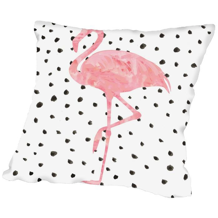Grossular Pink Flamingo On Polka Dots Throw Pillow Throw Pillows Modern Throw Pillows Hand Painted Pillows