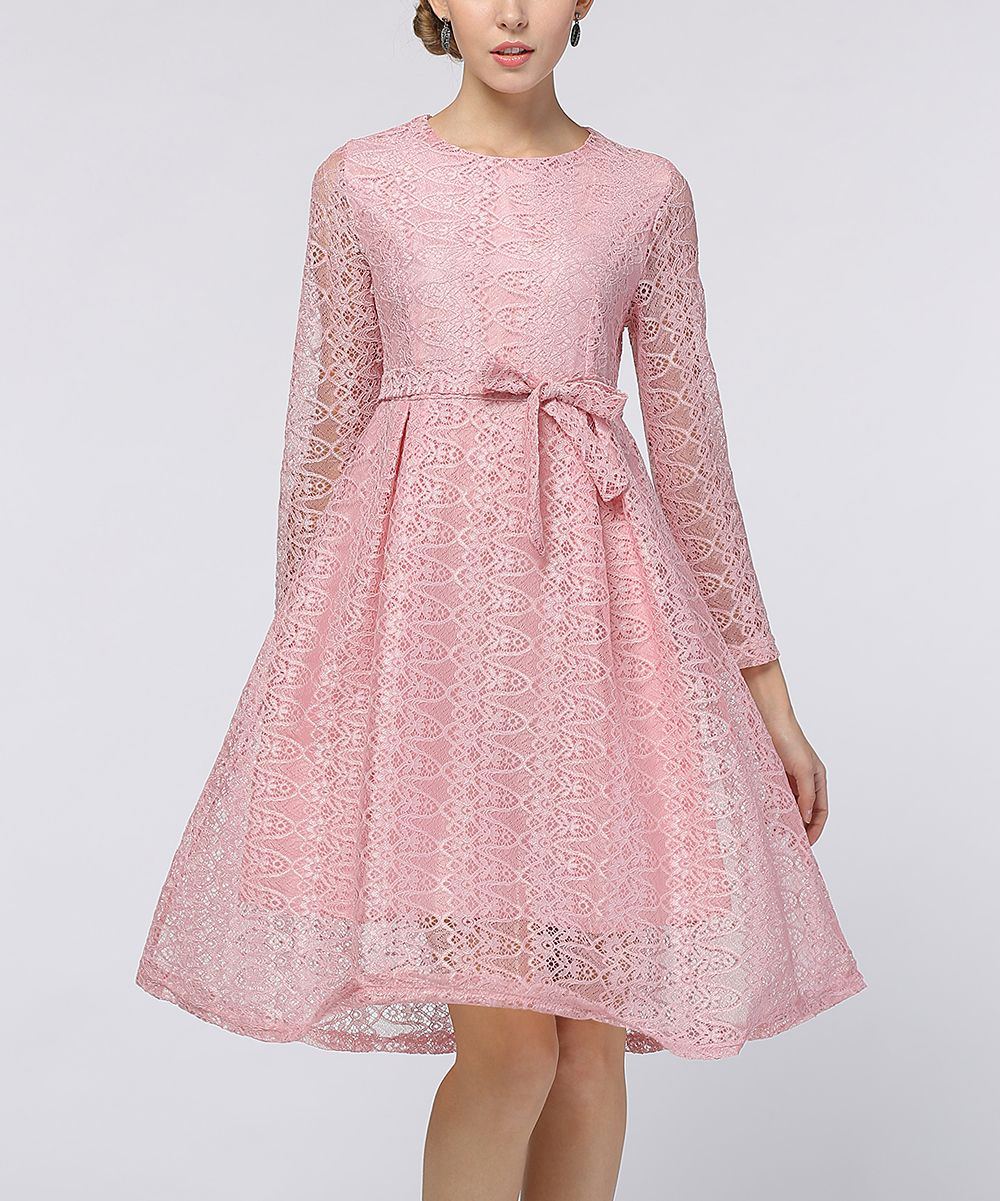 Pink lace tiewaist aline dress vestidos pinterest products