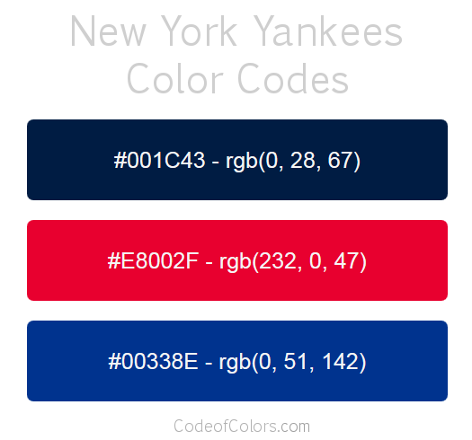 New York Yankees Team Color Codes Color Coding Rgb Color Codes Toronto Blue Jays