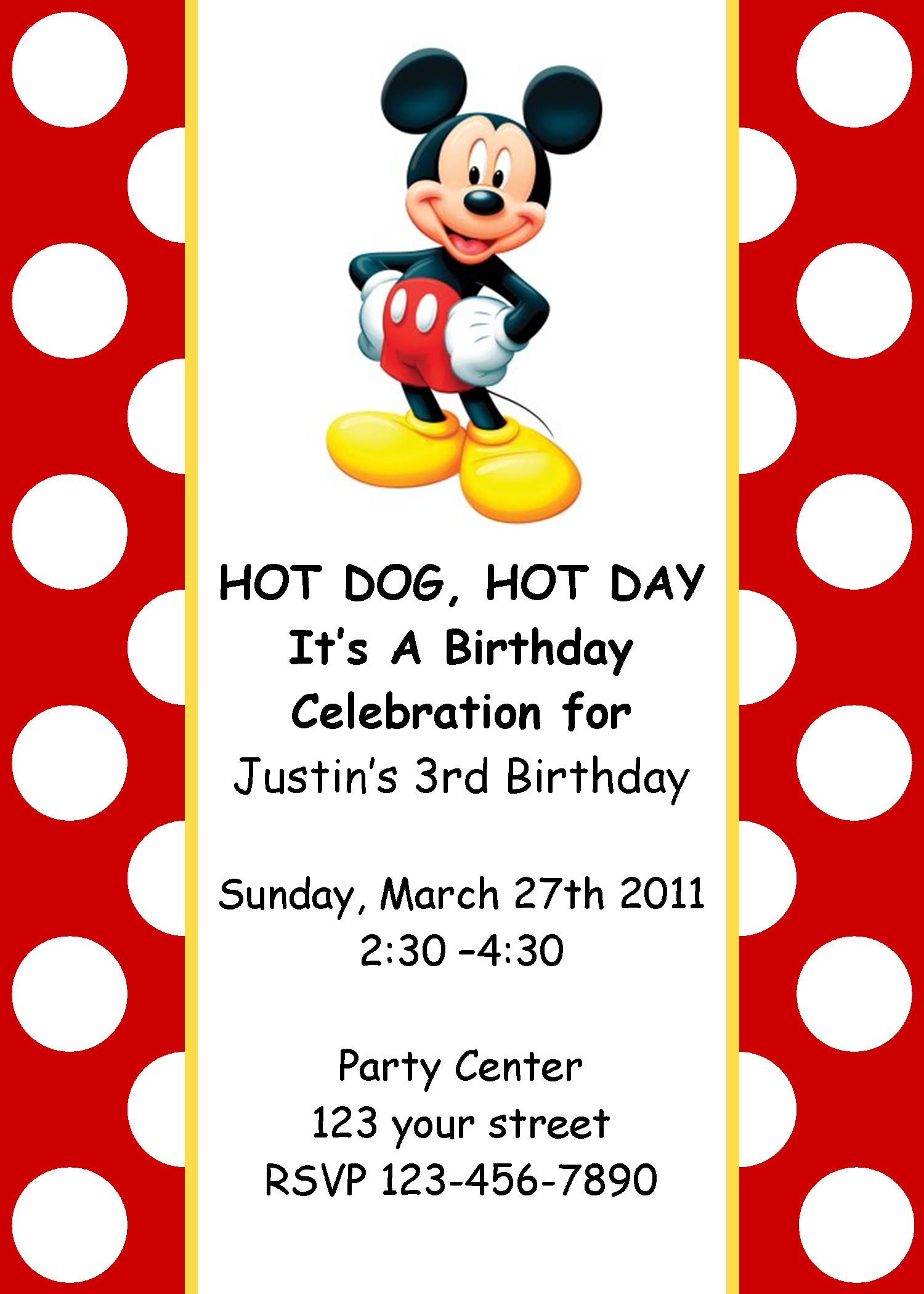 Mickey Mouse Birthday Invitation   Mickey Mouse bday theme ...