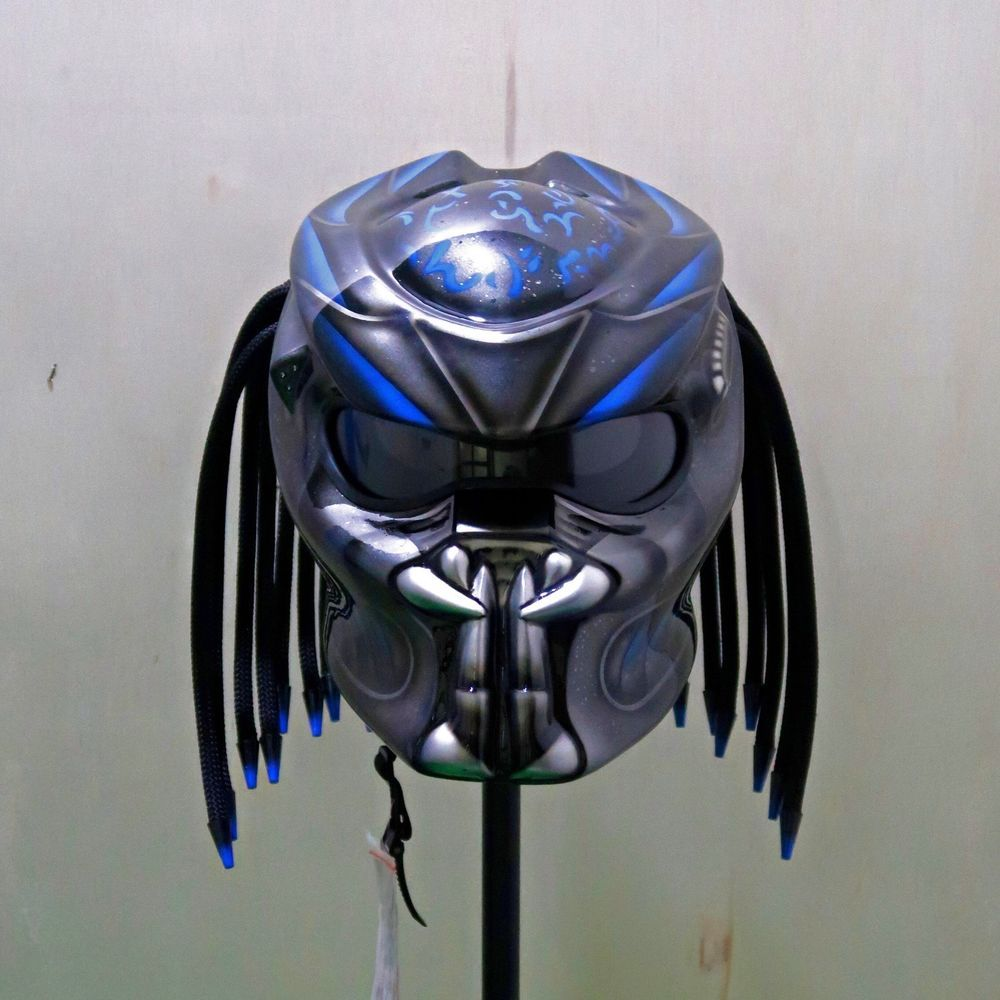 NEW ALIEN PREDATOR MOTORCYCLE HELMET FIRE BLUE (DOT
