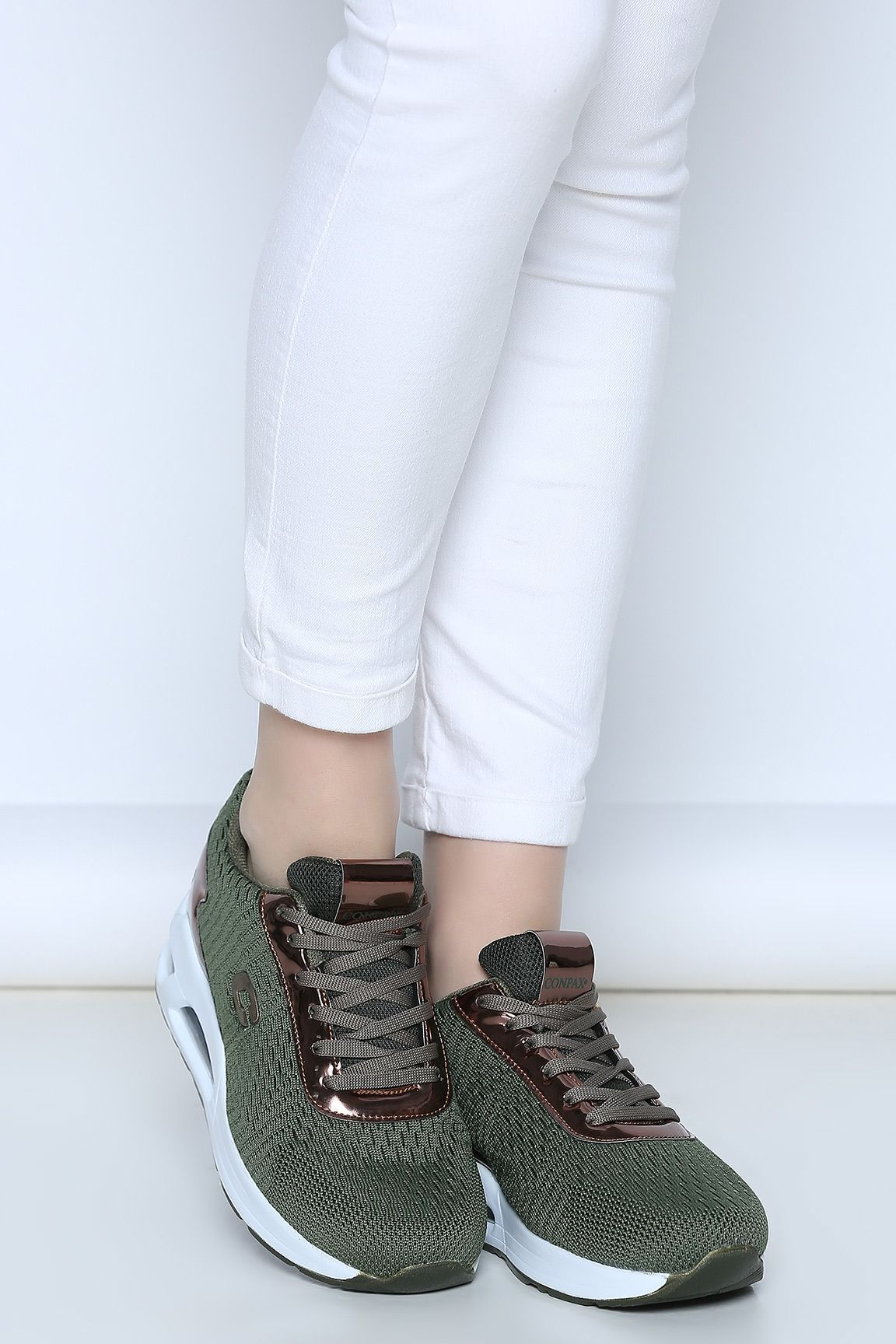 Haki Bagcikli Bayan Spor Ayakkabi Ayakkabi Bagcikli Bayan Haki Spor Flat Lace Up Shoes Sport Shoes Women Sport Shoes
