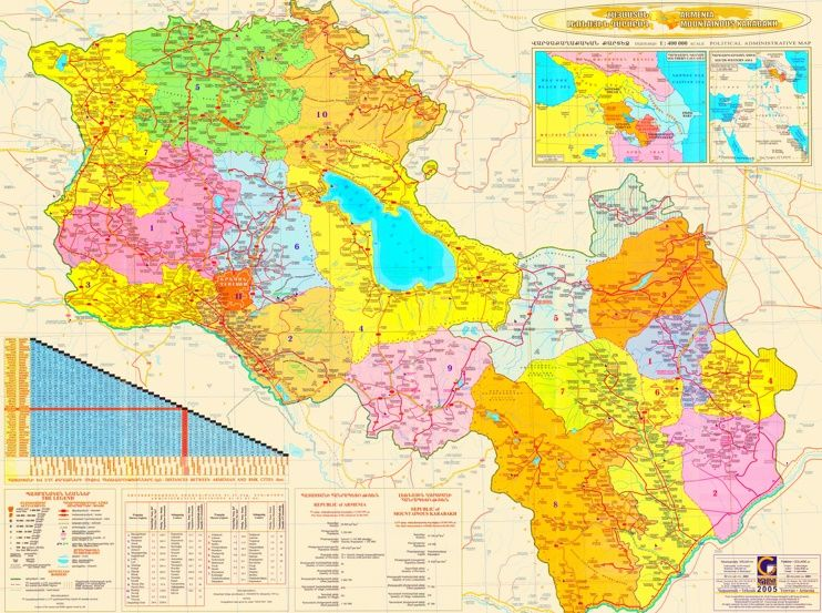 Grosse Detaillierte Karte Von Armenien Und Bergkarabach Armenien Karten Geographie Karte