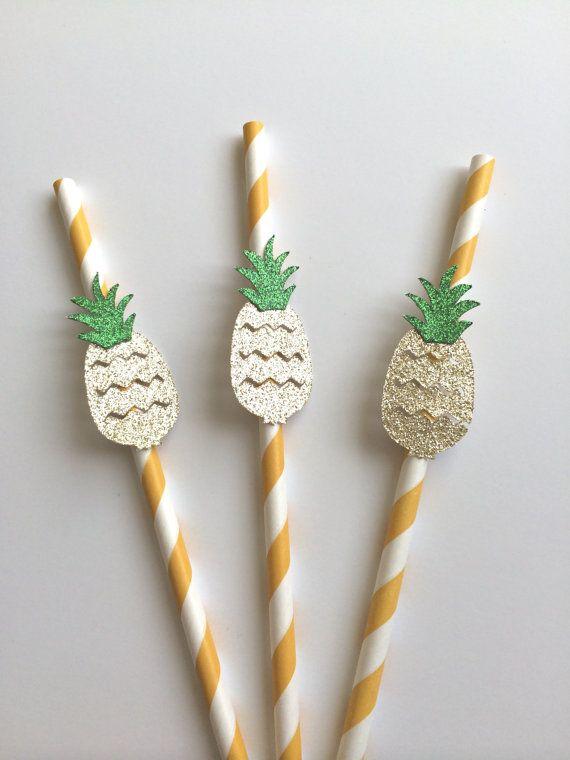 10 Gold Glitter Pineapple On Paper Straws Destination Wedding