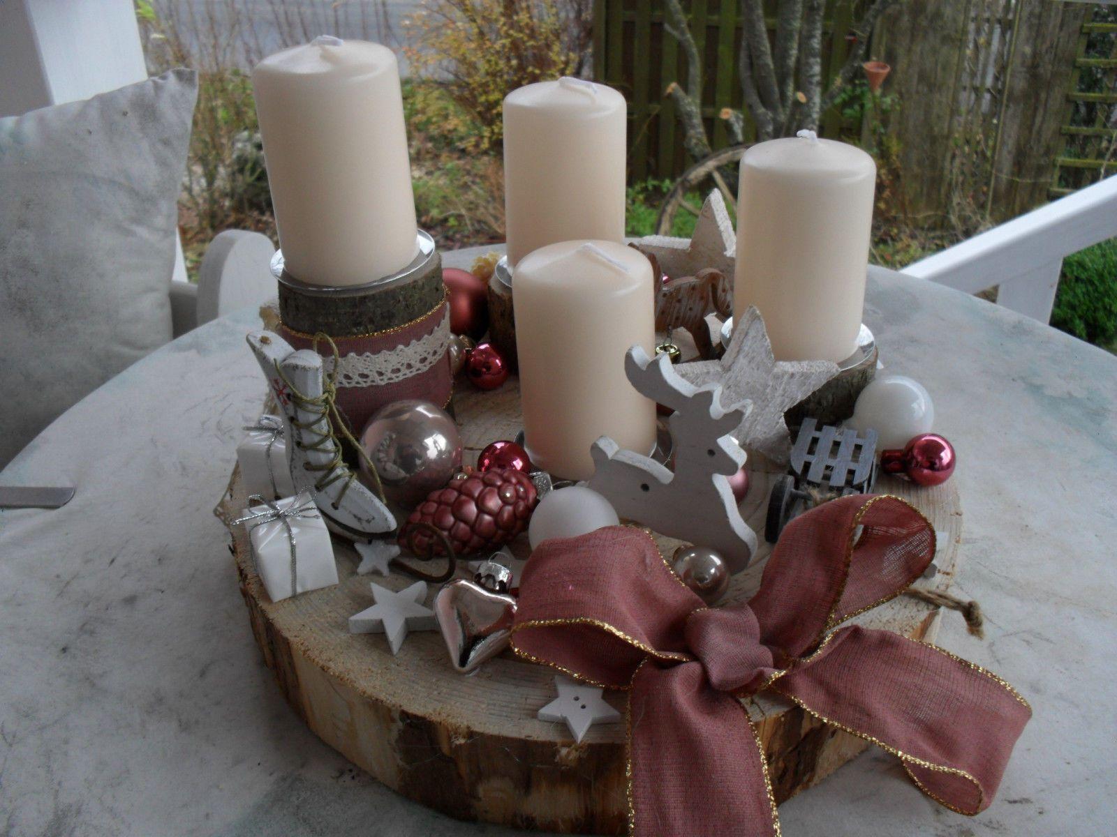 Adventskranz Adventsgesteck Weihnachtsdeko Shabby Landhaus Natur Holz Creme Rosa Eur 28 00 Weihnachtsdeko Adventskranz Adventsgesteck