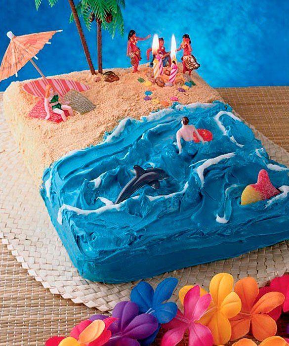 50 Amazing And Easy Kids Cakes Beach Cakes Hawaiian Birthday